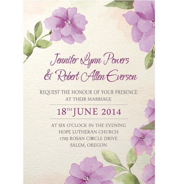 affordable purple flower watercolor spring wedding invitations - potluck sign up sheet template