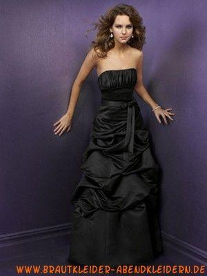 2012 Ausgefallenes schwarzes Abendkleid aus Taft trägerloses ...