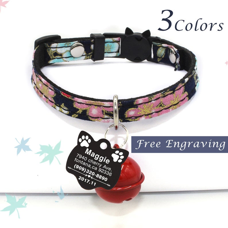 Cat Collar tag, Personalized Cat Collars, Leather Cat