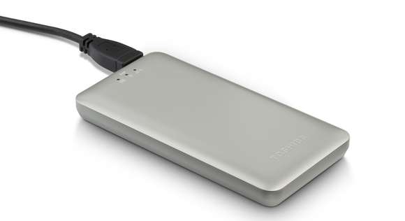 Toshiba Canvio AeroMobile: Portable Wifi Media Streamer with a super-fast SSD drive inside.