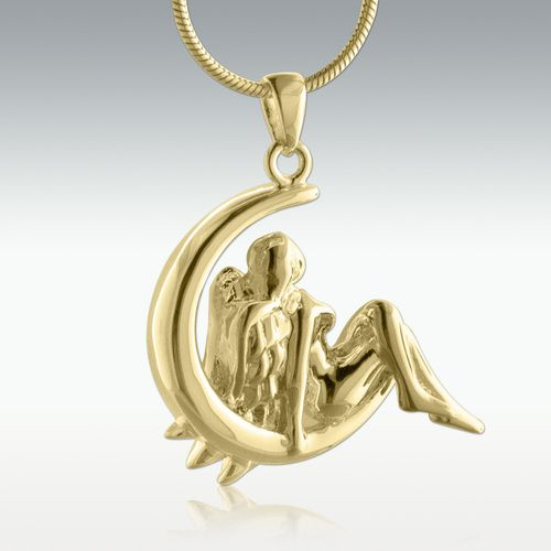 Angel Moon Solid 14k Gold Cremation Jewelry Sterling Silver Cremation Jewelry Gold Cremation Jewelry Silver Cremation Jewelry