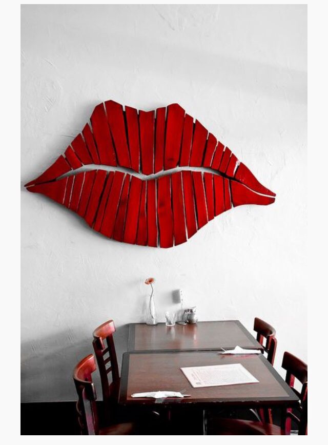 Giant Wooden Red Lips Wall Art Diy Wall Art Wall Hanging Diy