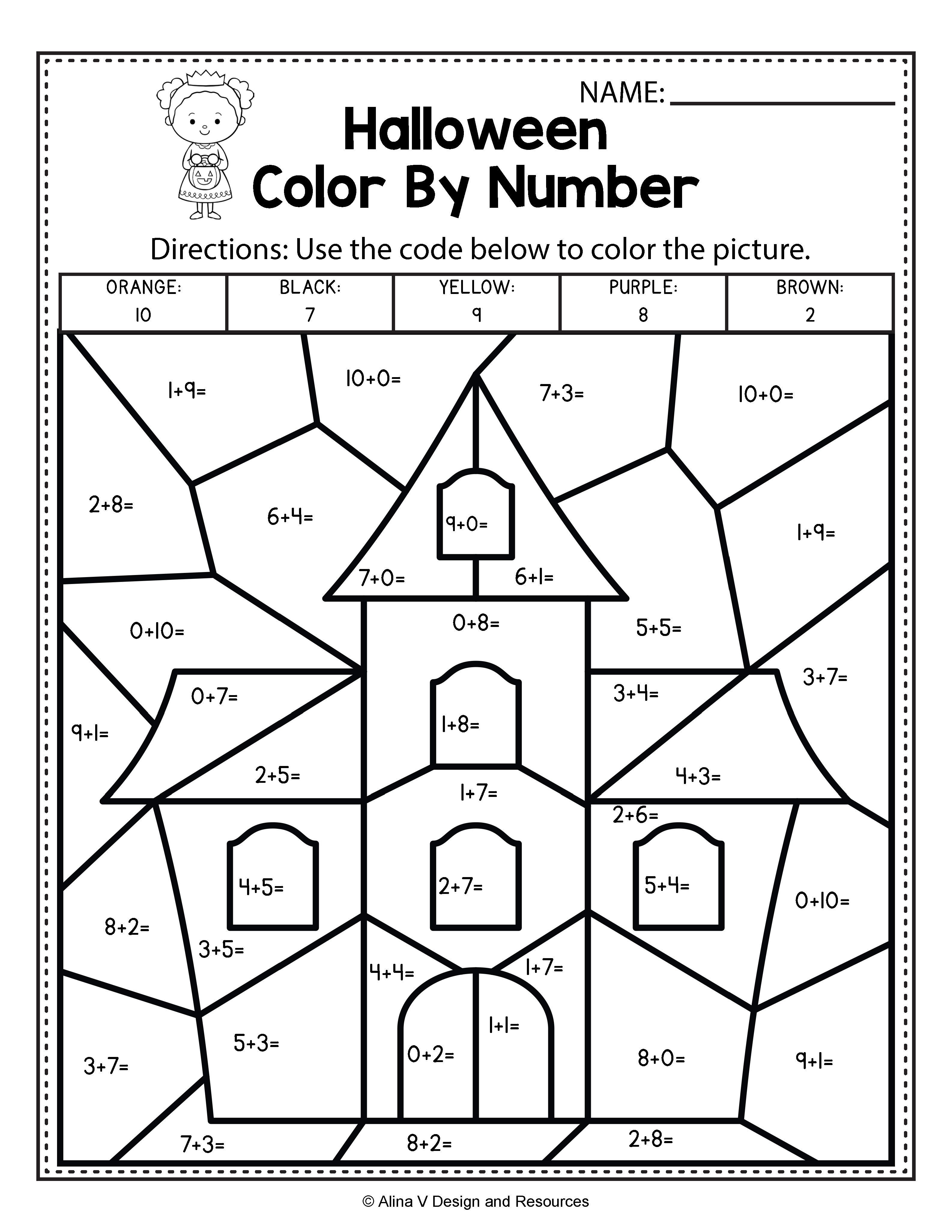 Halloween Math Literacy Activities For Kindergarten 1st Grade And Preschool Is Fun With This C Halloween Math Worksheets Halloween Worksheets Halloween Math