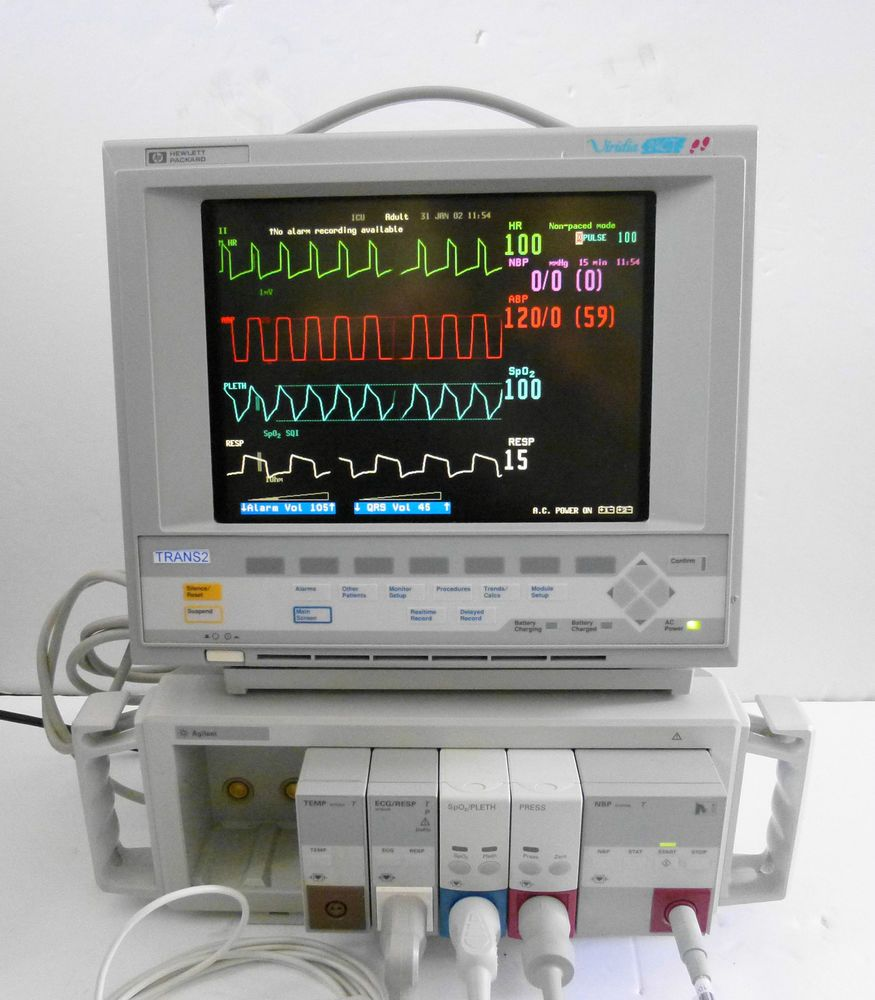 HP Viridia 24CT Color Patient Monitor with ECG,SpO2,Press,NBP Modules M1205A