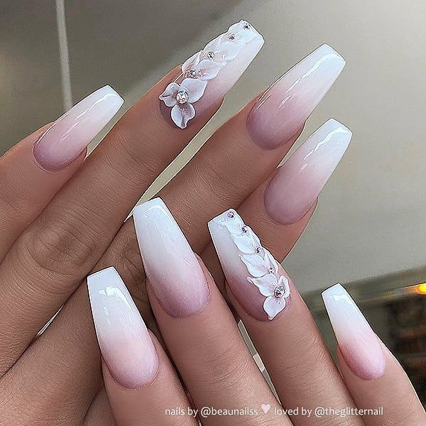 French Ombre With 3d Flowers And Crystals On Coffin Nails Nail Artis Matte White Nails White Nail Designs Mauve Nails