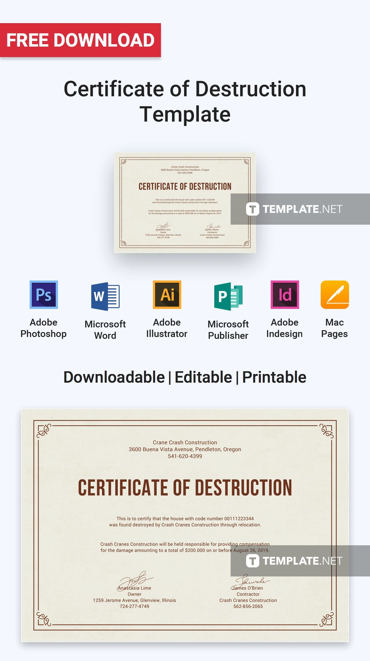 download free certificate of destruction template professionally designed certificates to download customize print - Destruction Certificate Template