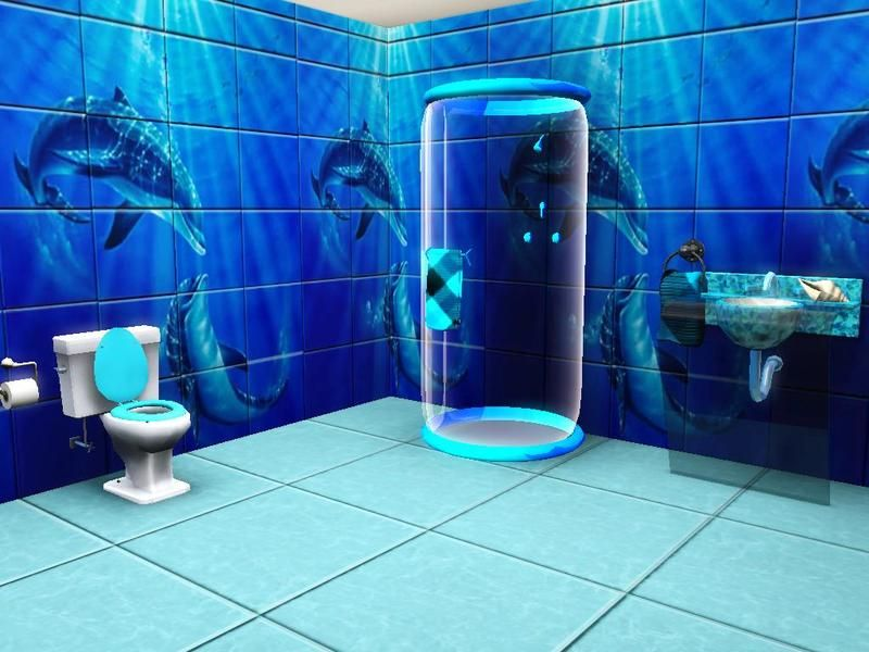 Now Your Sims Can Enjoy The Experience Of Being Surrounded By Dolphins At Least It Will Look That Way F Bathroom Tile Mural Dolphin Bedroom Bathroom Mural