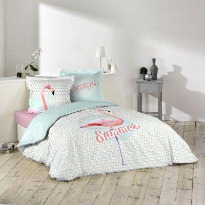 Housse De Couette Imprimée Et Parure De Lit à Motif Pink Flamingos - Parure de lit 2 places