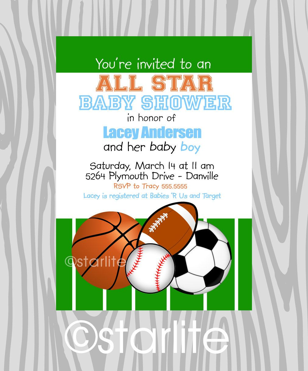 Cute Invites For A Boy Baby Shower Sports Theme