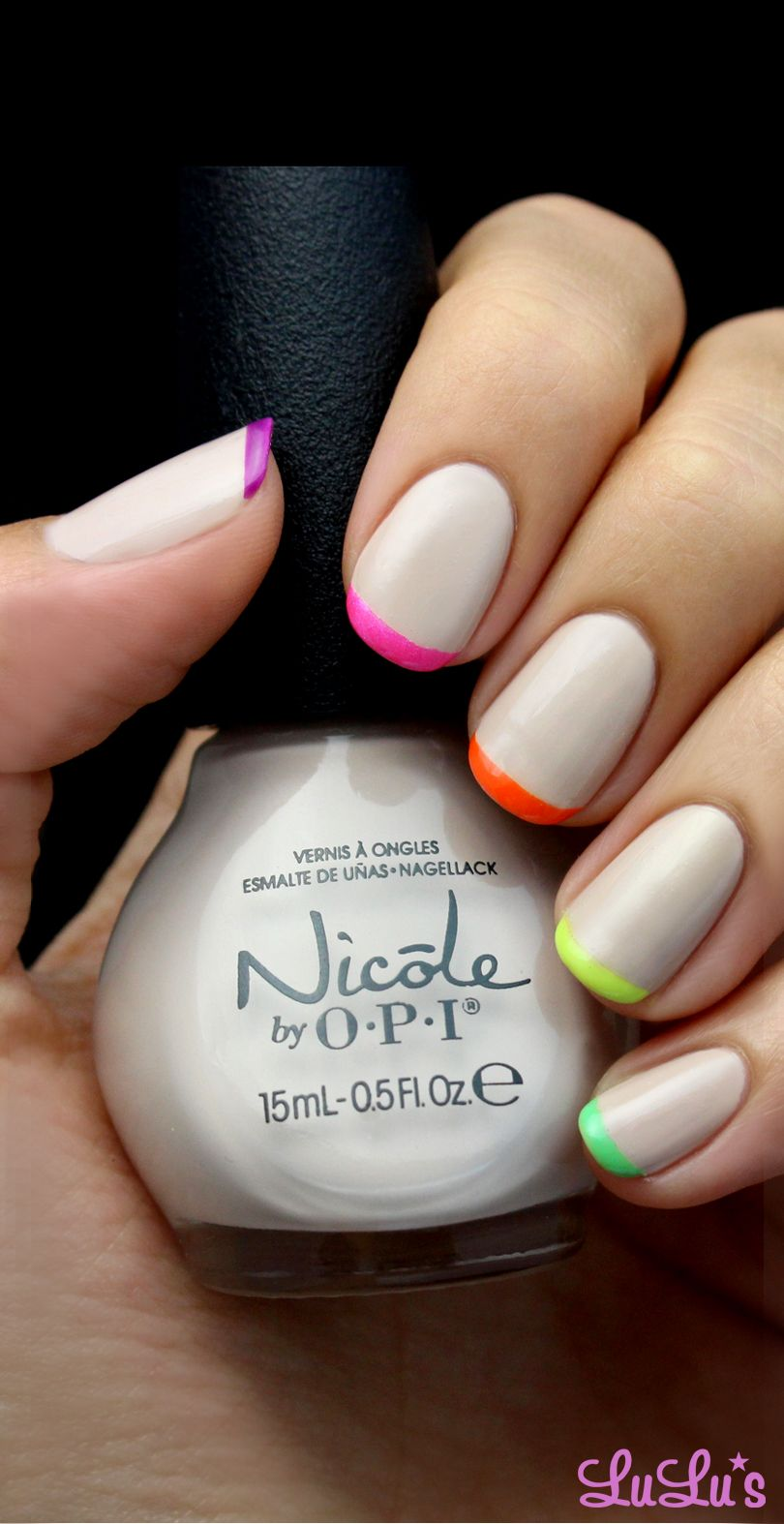 Mani Monday: Nude and Neon French Tips Nail Tutorial | Neon, Nude ...