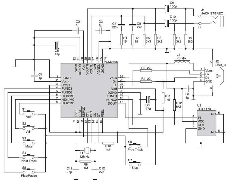 PCM2706 Soundcard Schematic