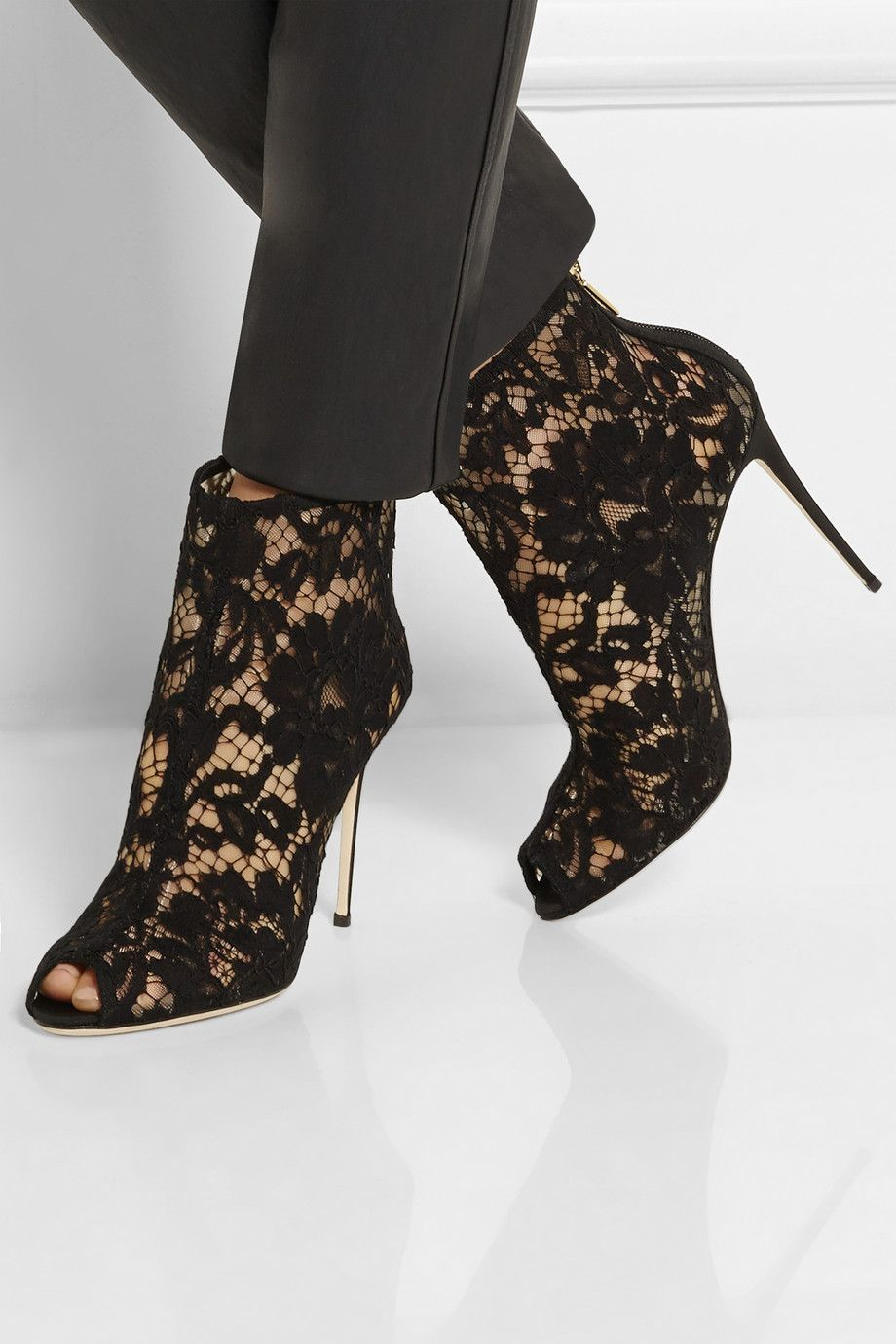 Dolce & Gabbana | Black lace and mesh peep-toe ankle boots | NET-