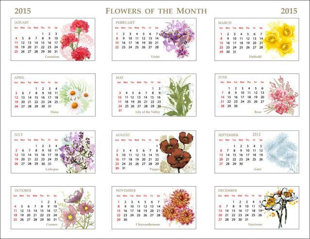 Clip Art Of A 2015 Flowers Of The Month Calendar Clip art, Flower