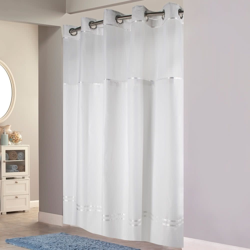 Hookless Hbh12ptk01sl77 White Pintuck Shower Curtain With Chrome With Regard To Sizing 1000 Cool Shower Curtains Hookless Shower Curtain Fabric Shower Curtains