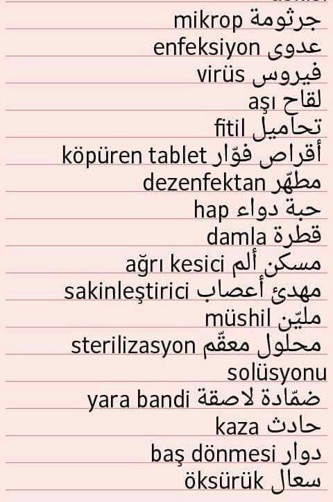 Medical Terms In Turkish Learn Turkish Language Turkish Language Turkish Lessons