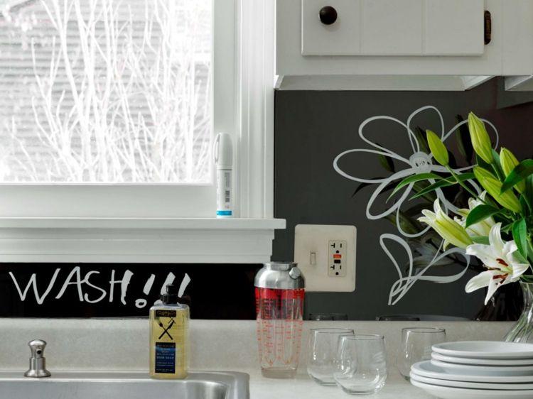 wandpaneele kuechen plexiglas notizen idee schwarz blume | Küche ...