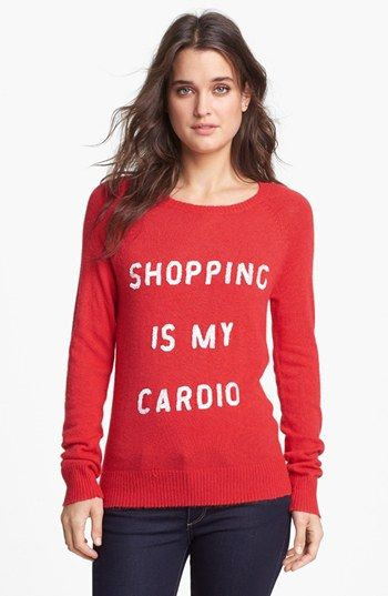 Wildfox 'Shopping is My Cardio' Sequin Knit Sweater