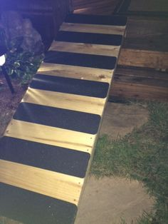 Marvelous No Skid Dog Ramp For Over The Deck Stairs. No Skid Tape From Amazon.