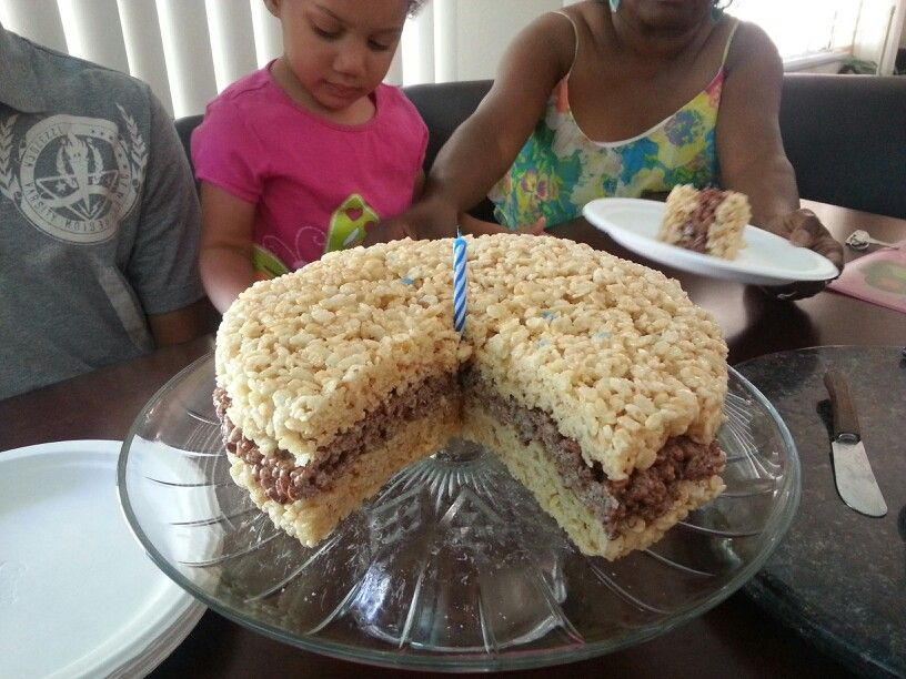 Cute quick idea for a birthday cake. Layered rice crispy ...