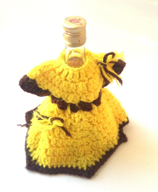 retro yellow wine bottle, soap dispenser, lotion cover-up crochet ...
