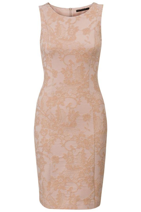 b291f1dd477c98 Mouwloze jurk met jacquard Licht Roze