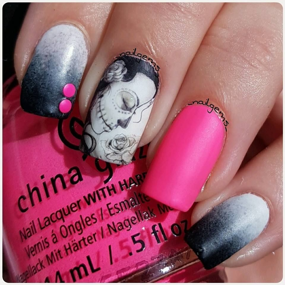 Day of the dead nail wraps in 2020 | Skull nails, Skull ...