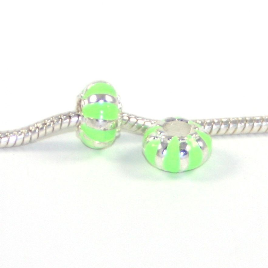 1 pc Neon Green Enamel Barrel Silver European Style Beads Spacer Charms for Bracelet Necklace Lot E0781