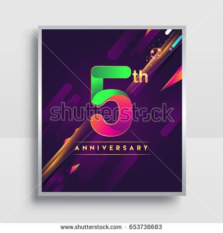 5th Years Anniversary Logo Vector Design For Invitation And Poster Five Years Birthday Celebration With Colorful Abstract Background Isolated On White Backgrou