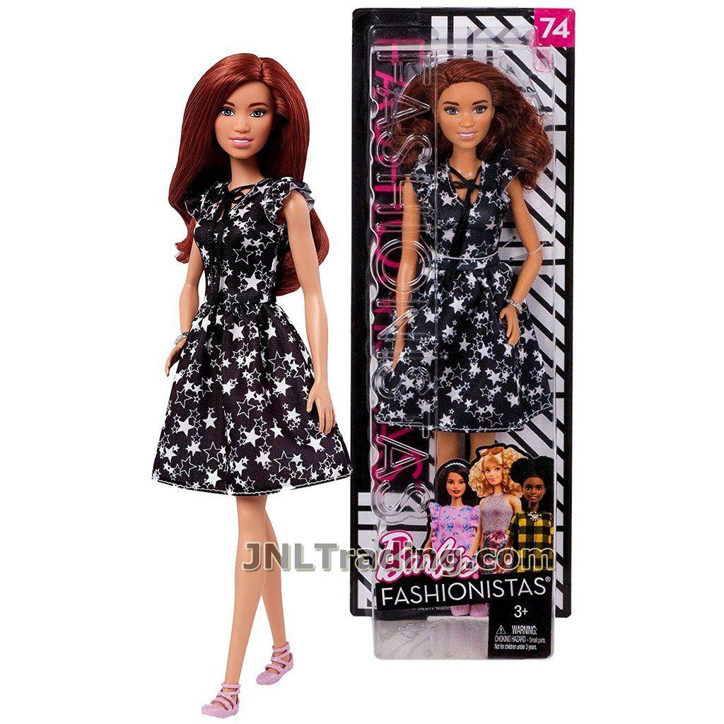 Barbie 2017 Sleeveless Stripe Dress Fashionistas Dark Pink White Blue REGULAR