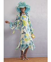 tropical jacket dress and lydian hat