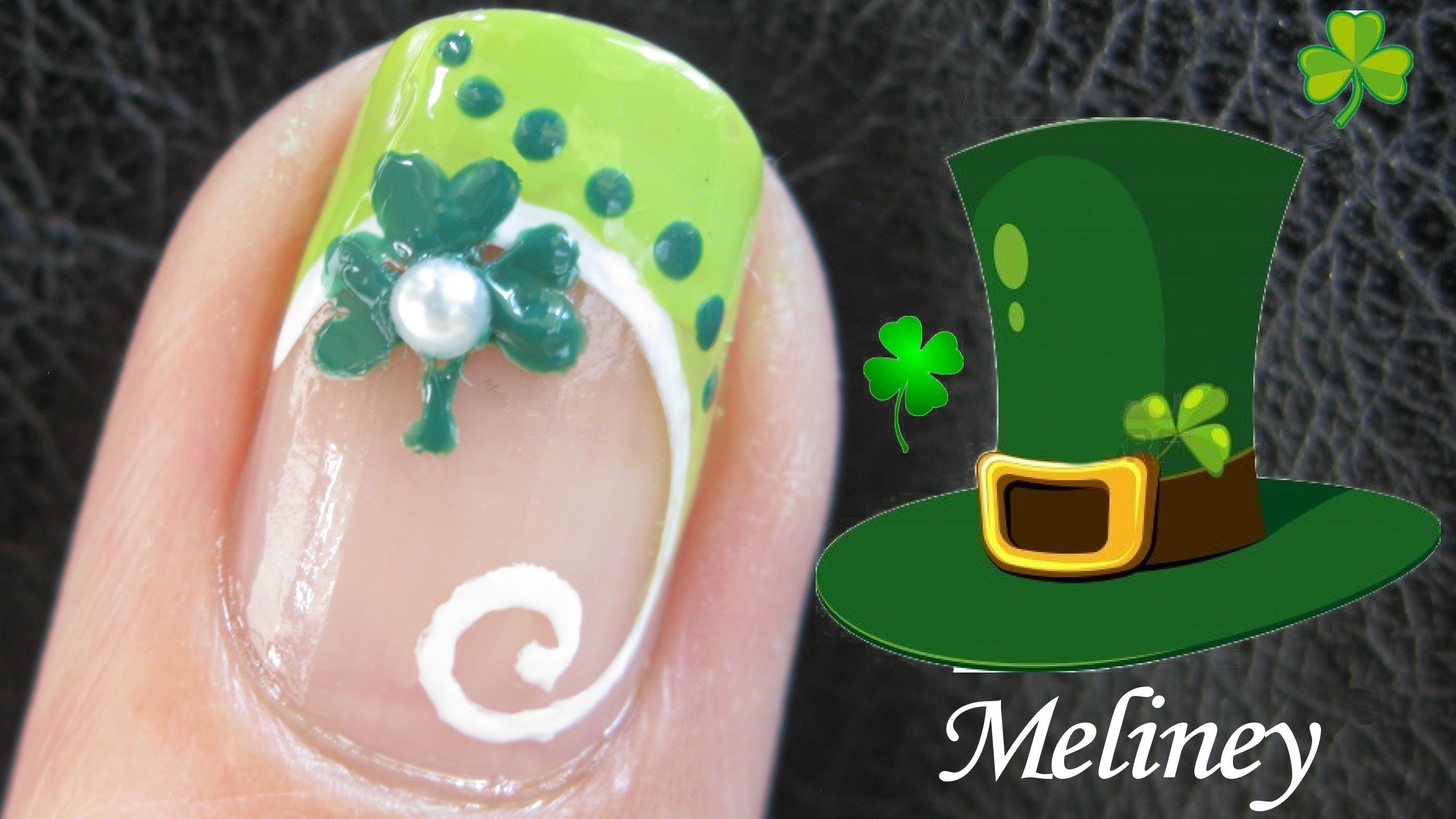 St Patrick\'s Day Clover Nail tutorial - French Manicure Nail Art ...