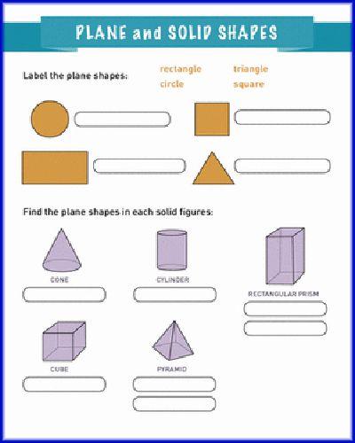 Plane Solid Shapes Geometry First Worksheet   TJA 3.r   Pinterest ...