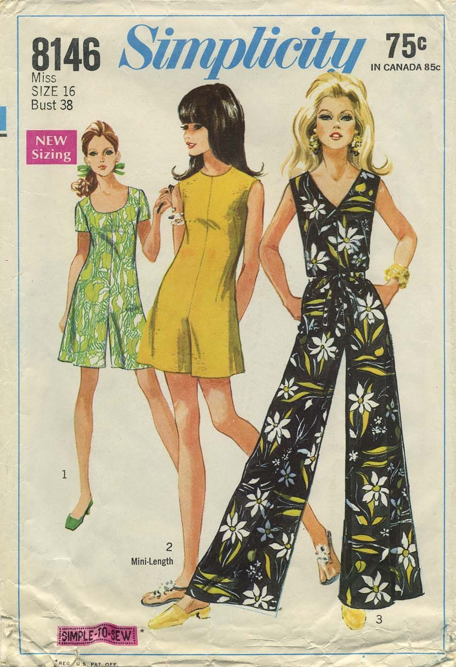 Vintage Sewing Pattern Jumpsuit Simplicity 8146 Year 1969