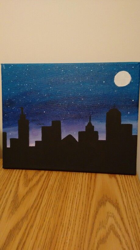 Easy Skyline Canvas Painting Night Painting Painting Art Projects Canvas Painting