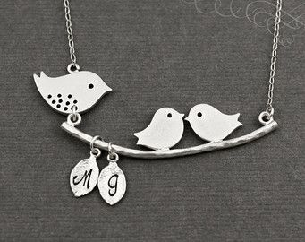 Mother's Necklace, Mom and 2 Baby Birds Necklace, Sterling Silver Mom Necklace, Mothers Necklace, Children Initials, Personalized Necklace