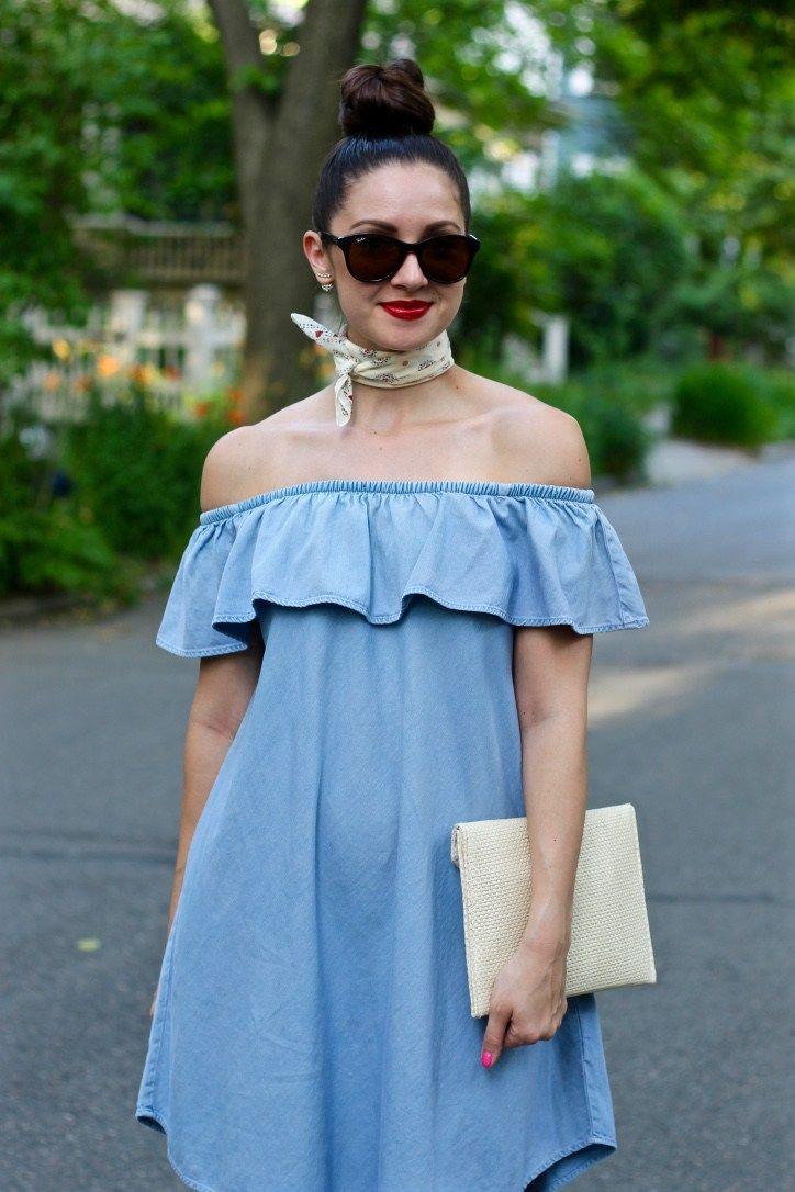 8a673323 La Mariposa Summer Dress: Express Off the Shoulder Ruffled Denim Dress