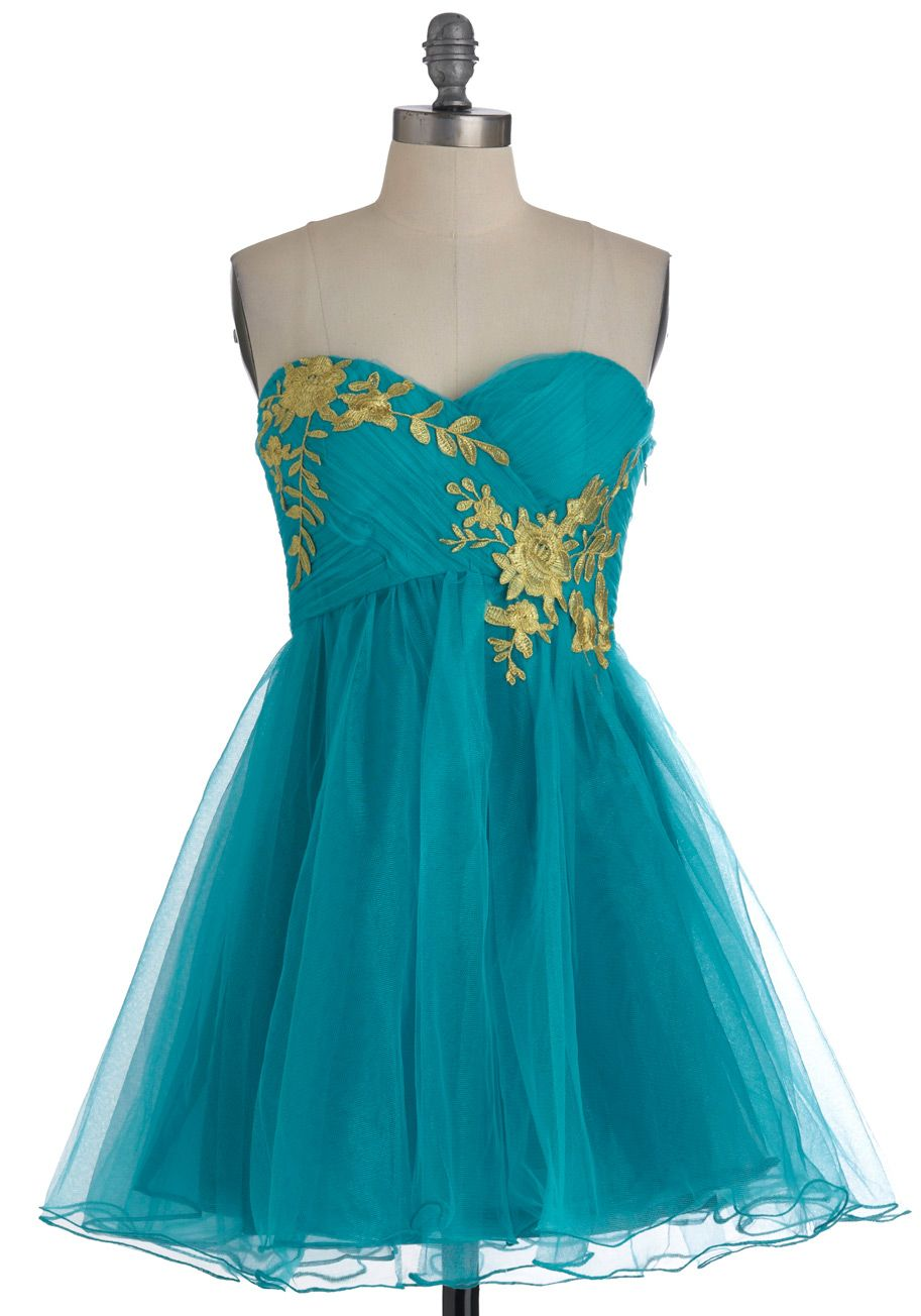 Garden Cotillion Dress in Teal - Short, Green, Gold, Floral, Prom, Party, A-line, Strapless, Fairytale, Spring