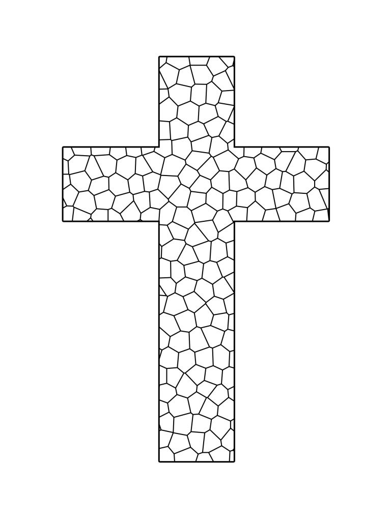 Stained glass cross printable coloring sheet sunday for Coloring pages of cross