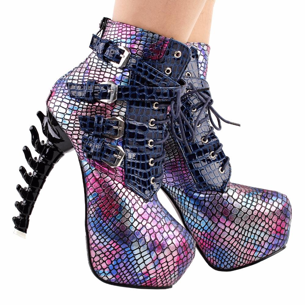 58728f3529d373 Slithering Snake Snakeskin Booties 3D Spinal Cord Boots | Kawaii Babe