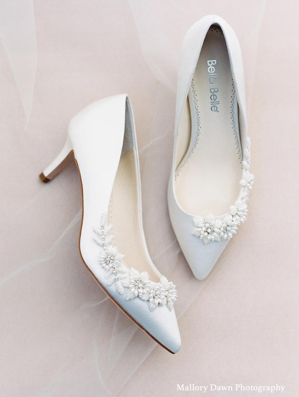 Floral And Beads Kitten Heel Wedding Shoe Ivory Kitten Heels Wedding Wedding Shoes Heels Kitten Heel Wedding Shoes