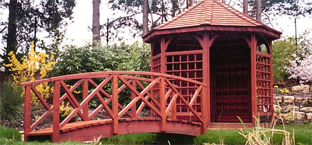 10 304m Chinese Style Bridge Stained Cedar To Match Summer House