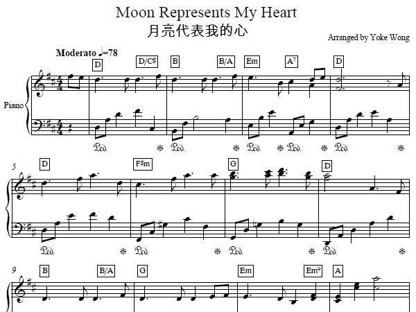 The Moon Represents My Heart Piano Sheet Music Piano Sheet