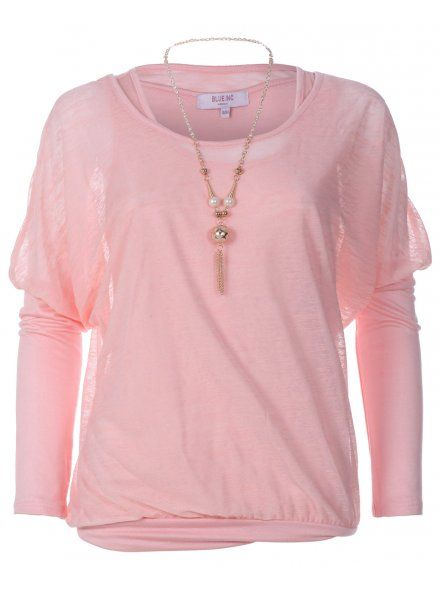 Womens Pink Light Knit Oversized Necklace Insert Casual Top
