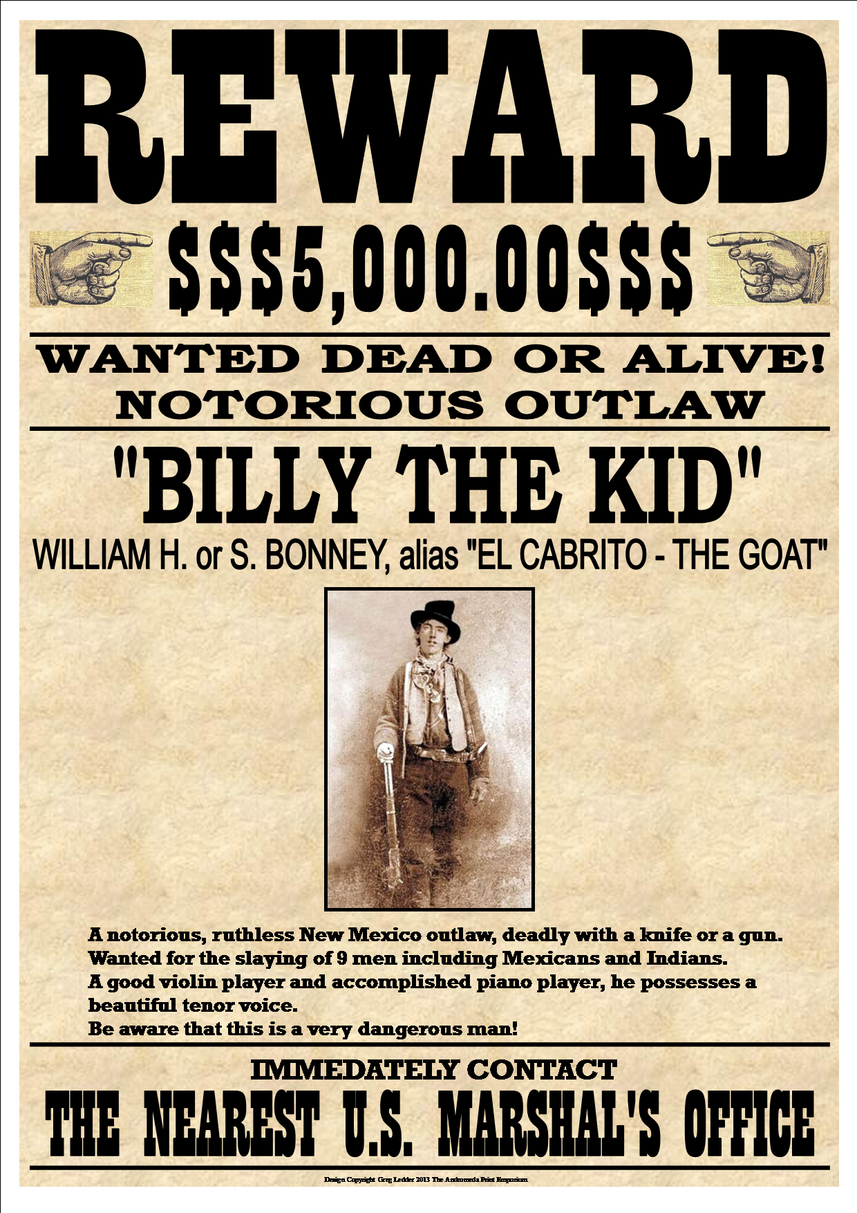 Billy The Kid Fantastic Western Style Wanted Poster From Andromeda Print Emporium Billy The Kids Old West Outlaws Old West Photos
