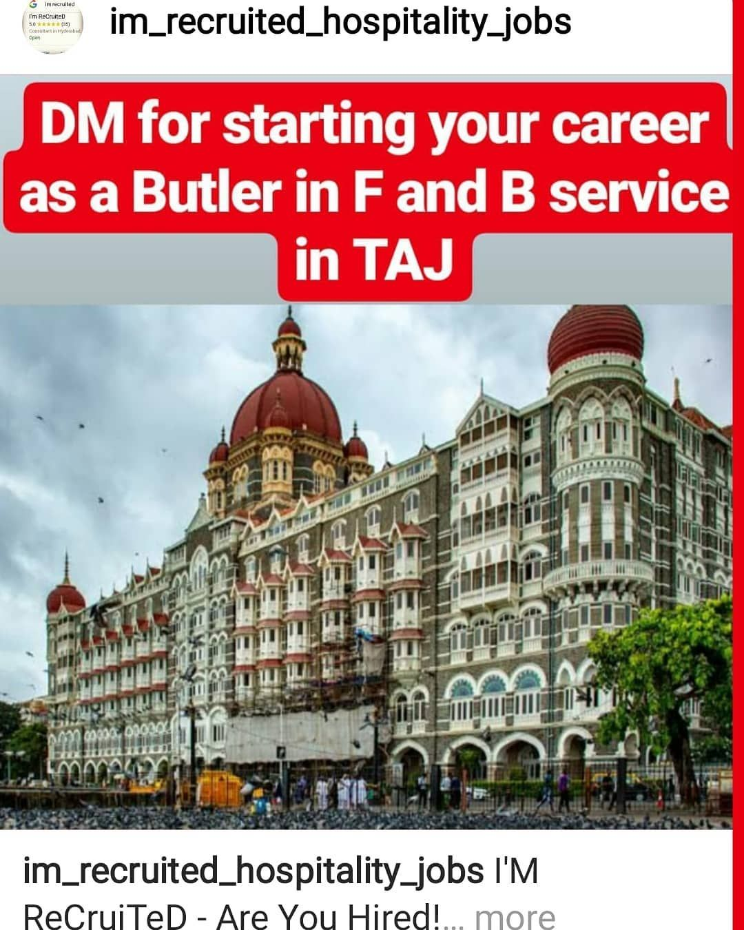 I M Recruited Are You Hired Give Your Career A Kick Start By Joining The Food And Beverage Department With T Hotel Jobs Marriott International Hyatt Hotels