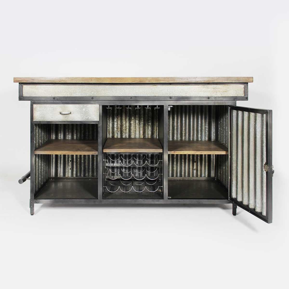 Meuble bar industriel structure en t le ondul e - Meuble loft industriel ...