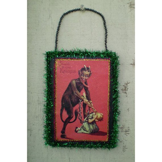 Krampus vintage style Christmas decoration wall by TwilightFaerie #krampus #creepmas #halloweenartistbazaar