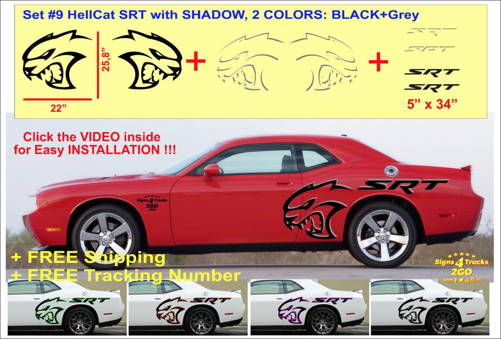 Set 9 vinyl decal graphic for dodge challenger hellcat srt demon hemi 2 colors