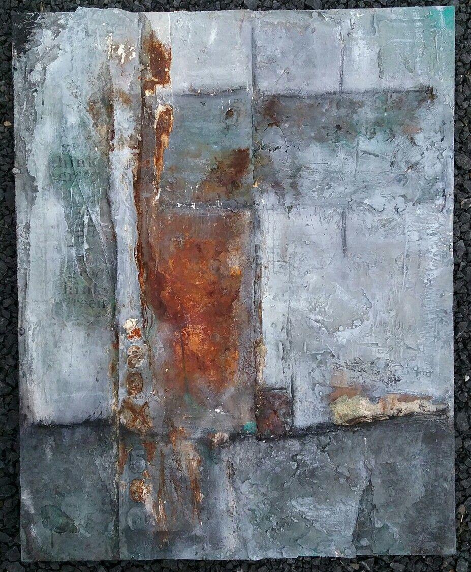 80x100 rost/grau Metall auf Leinwand Sonja Bittlinger