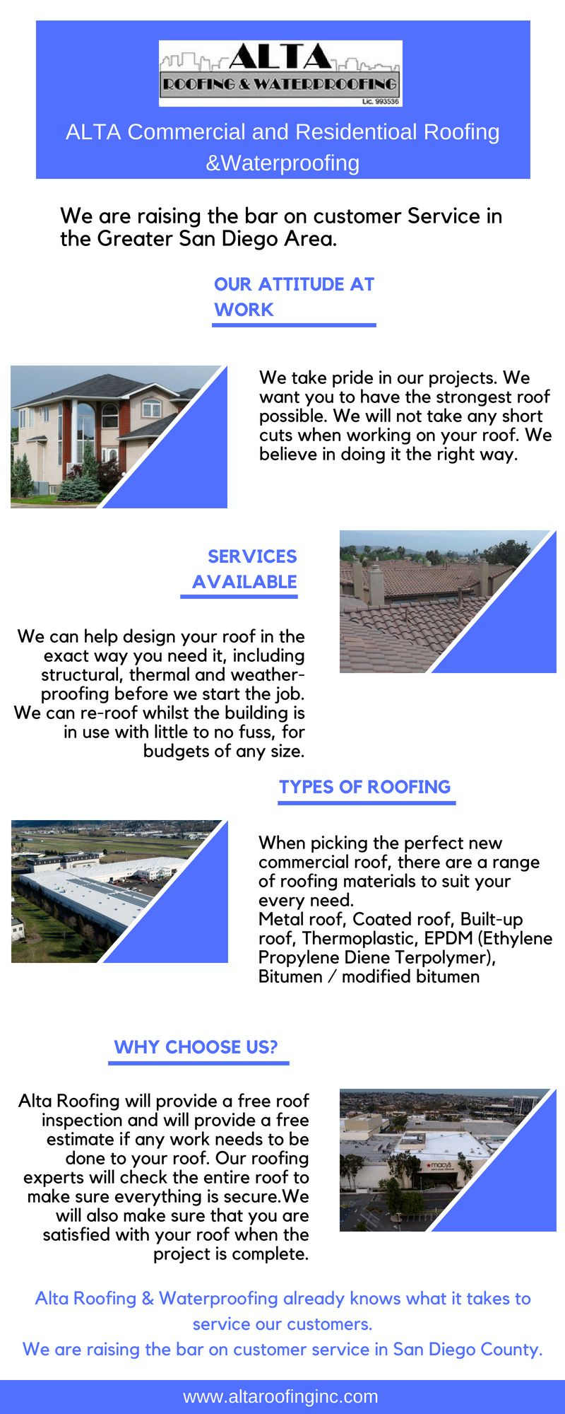 Alta Roofing Waterproofing Residential And Commercial San Diego Roofing Commercial Roofing Residential